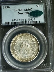 1936 NORFOLK COMMEMORATIVE SILVER HALF $   MS67  PCGS GREEN CAC    STK0357