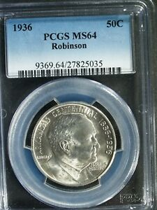 1936 ROBINSON ARKANSAS COMMEMORATIVE SILVER HALF $   MS64  PCGS    STK5035