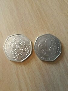 TWO 50P COINS  BE PREPARED  SCOUTS AND 100 YRS OF GIRLGUIDING