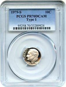 1979 S TYPE 1 DIME PROOF PCGS PR70 DCAM HARDER DATE  SPOT HAZE FREE