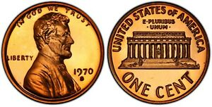 1970 LINCOLN MEMORIAL CENT PROOF LARGE DATE VARIETY COPPER ALLOY