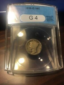 1916 D MERCURY DIME  G4 ANACS  UNDERGRADED  LOOKS VG