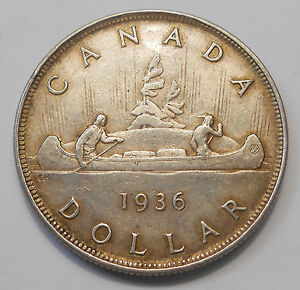 1936 SILVER DOLLAR EF BEAUTIFULLY TONED LAST KING GEORGE V KEY 2ND CANADA $1.00