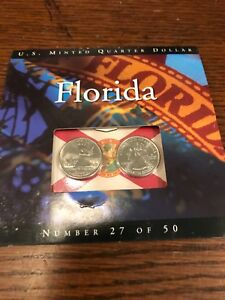 2 COINS OF AMERICA STATE QUARTER SET FLORIDA  27 OF 50 UNCIRC. 2004