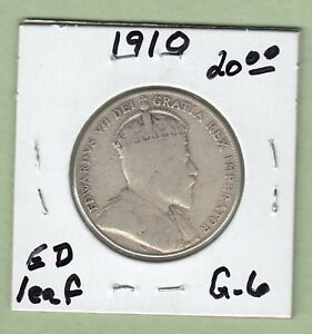 1910 CANADIAN 50 CENTS SILVER COIN   EDWARD LEAVES   G 6