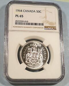 1964 CANADA SILVER 50C NGC PL65 HALF DOLLAR PROOF LIKE MS PL 65