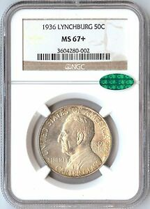 1936 US LYNCHBURG 50C COMMEMORATIVE SILVER   1892 1954   NGC MS 67  CAC