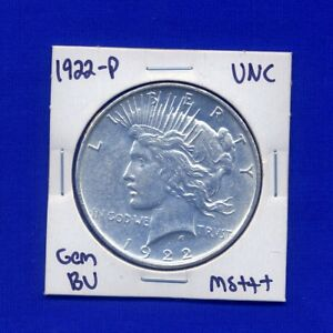 1922 P PEACE DOLLAR  KEY DATE US MINT GEM PQ SILVER COIN BU UNC MS