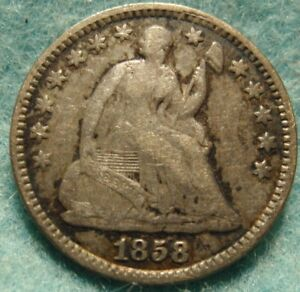 1858 P UNITED STATES SILVER SEATED LIBERTY HALF DIME HIGHER GRADE ORIGINAL COIN
