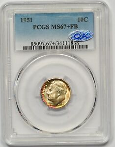 Click now to see the BUY IT NOW Price! 1951 PCGS MS 67 FB QA ROOSEVELT DIME  FROSTY WHITE  LIGHT RAINBOW  IMMACULATE
