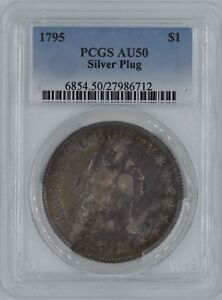 Click now to see the BUY IT NOW Price! 1795 FLOWING HAIR BUST $1 SILVER PLUG AU 50 PCGS WOW