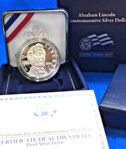 2009 ABRAHAM LINCOLN PROOF SILVER DOLLAR WITH BOX SLEEVE & COA