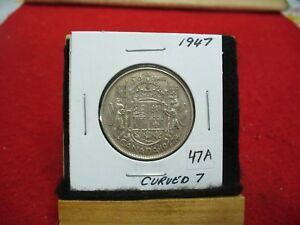Click now to see the BUY IT NOW Price! 1947  CANADA  SILVER  HALF  DOLLAR  50 CENT PIECE  47A  CURVED   7  GOOD GRADE