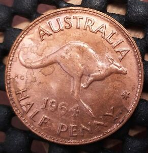 1964Y AUSTRALIA HALF PENNY EX   MINT ROLL IN UNCIRCULATED CONDITION   11