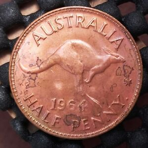 1964Y AUSTRALIA HALF PENNY EX   MINT ROLL IN UNCIRCULATED CONDITION   1