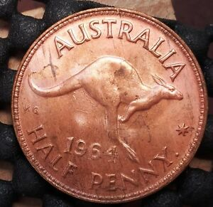 1964Y AUSTRALIA HALF PENNY EX   MINT ROLL IN UNCIRCULATED CONDITION   3
