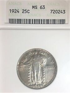 1924 25C STANDING LIBERTY QUARTER  ANACS MS63         18 00776