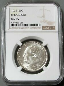 1936 SILVER UNITED STATES BRIDGEPORT COMMEMORATIVE HALF DOLLAR NGC MINT STATE 65