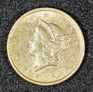 1852 GOLD LIBERTY HEAD $1 TYPE 1 COIN AU ABOUT UNCIRCULATED CONDITION