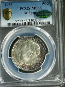 1936 U.S. BRIDGEPORT COMMEMORATIVE SILVER HALF $  MS66  PCGS GREEN CAC  STK3076