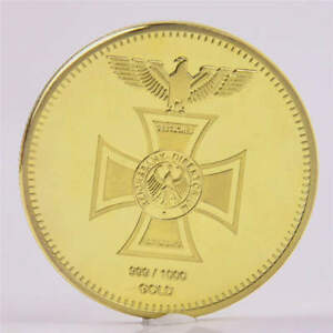 COLLECTION GIFT GOLD PLATED GERMAN EAGLE CROSS MEDAL 1871 COMMEMORATIVE COINS