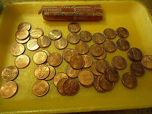 1994 P MOSTLY RED CIRCS LINCOLN CENT ROLL   >> WE COMBINE SHIPPING <<