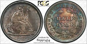 Click now to see the BUY IT NOW Price! 1837 NO STARS HALF DIME IN PCGS MS 64 CAC WITH RAINBOW TONING TRUEVIEW