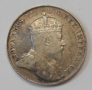 1902H TEN CENTS EF  BEAUTY HIGH GRADE 1ST YEAR KING EDWARD VII CANADA DIME