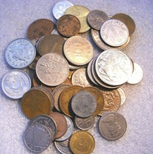 PA'S LOT OF 50 COINS OLD WORLD AND NEW FOREIGN COINS 1