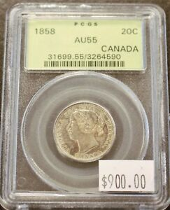 Click now to see the BUY IT NOW Price! CANADA 1858 TWENTY CENTS IN PCGS AU55 CONDITION. 972