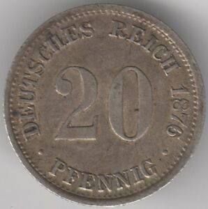 1876 D GERMANY SILVER 20 PFENNIG | PENNIES2POUNDS