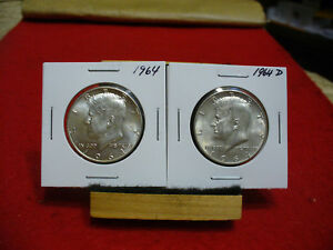 Click now to see the BUY IT NOW Price! LOT OF 2 1964 USA  SILVER  HALF  DOLLAR  50 CENT PIECES   KENNEDY  GOOD GRADES