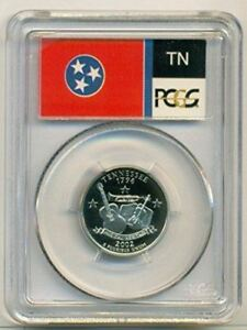 2002 S CLAD TENNESSEE STATE QUARTER PROOF PR70 DCAM PCGS FLAG LABEL