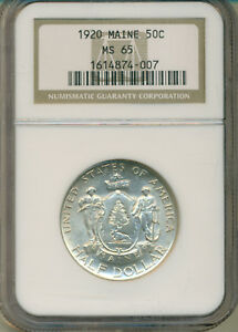 1920 MAINE COMMEMORATIVE HALF DOLLAR NGC CERTIFIED MS65 DEEP FROSTY WHITE