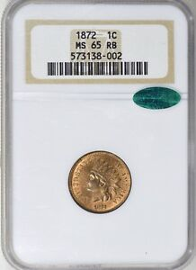 Click now to see the BUY IT NOW Price! 1872 INDIAN HEAD 1C MS 65 RB CAC   TONED   NGC 573138002