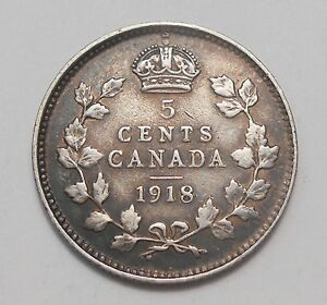 1918 FIVE CENTS SILVER F    NICE EARLY KING GEORGE V OLD CANADA HALF DIME