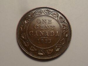 1913  NICE CANADA BRONZE ONE CENT MINTAGE 5 735 405