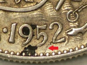 1952 CANADA 50 CENTS DIE CRACK THROUGH DATE VARIETY 1600