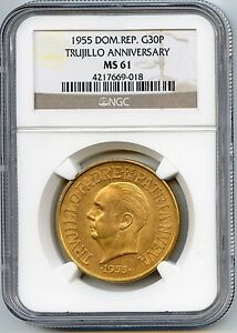 1955 DOMINICAN REPUBLIC 30 PESOS GOLD COIN. NGC GRADED MS61. LOT 1718