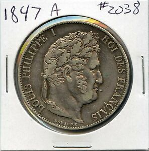 1847 A   5 FRANCS SILVER COIN FROM FRANCE. CIRCULATED. LOT 1731