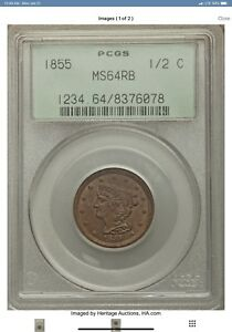 1855 BRAIDED HAIR HALF CENT PCGS GRADED MS64RB  1/2C LOW MINTAGE