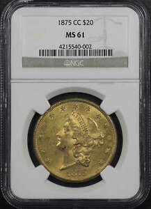 1875 CC LIBERTY HEAD GOLD $20 DOUBLE EAGLE NGC MS 61  135877