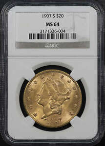 1907 S LIBERTY HEAD GOLD $20 DOUBLE EAGLE NGC MS 64  136426