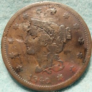 1840/18 BRAIDED HAIR LARGE CENT N 2 SMALL DATE/LARGE DATE  GREAT DETAILS