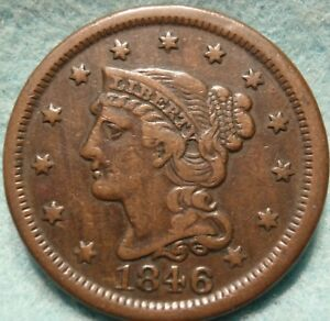 1846 XF AU BRAIDED HAIR LARGE CENT  GREAT DETAILS NICE