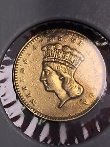 1856 UNITED STATES MINT ONE DOLLAR GOLD COIN TYPE 3