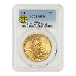 Click now to see the BUY IT NOW Price! 1909 $20 GOLD SAINT GAUDENS PCGS MS66 A&A PQ