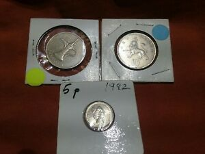 LOT OF 3 FOREIGN COINS U.A.E. TEN NEW PENCE 1970 5 PENCE 1992