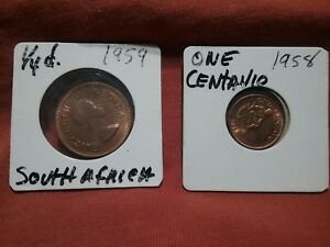 LOT OF 2 FOREIGN COINS SOUTH AFRICA 1959 ONE CENTAVO 1958