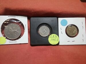 LOT OF 3 FOREIGN COINS PENCE 1969 U.A.E. 10 CENTIME 1989